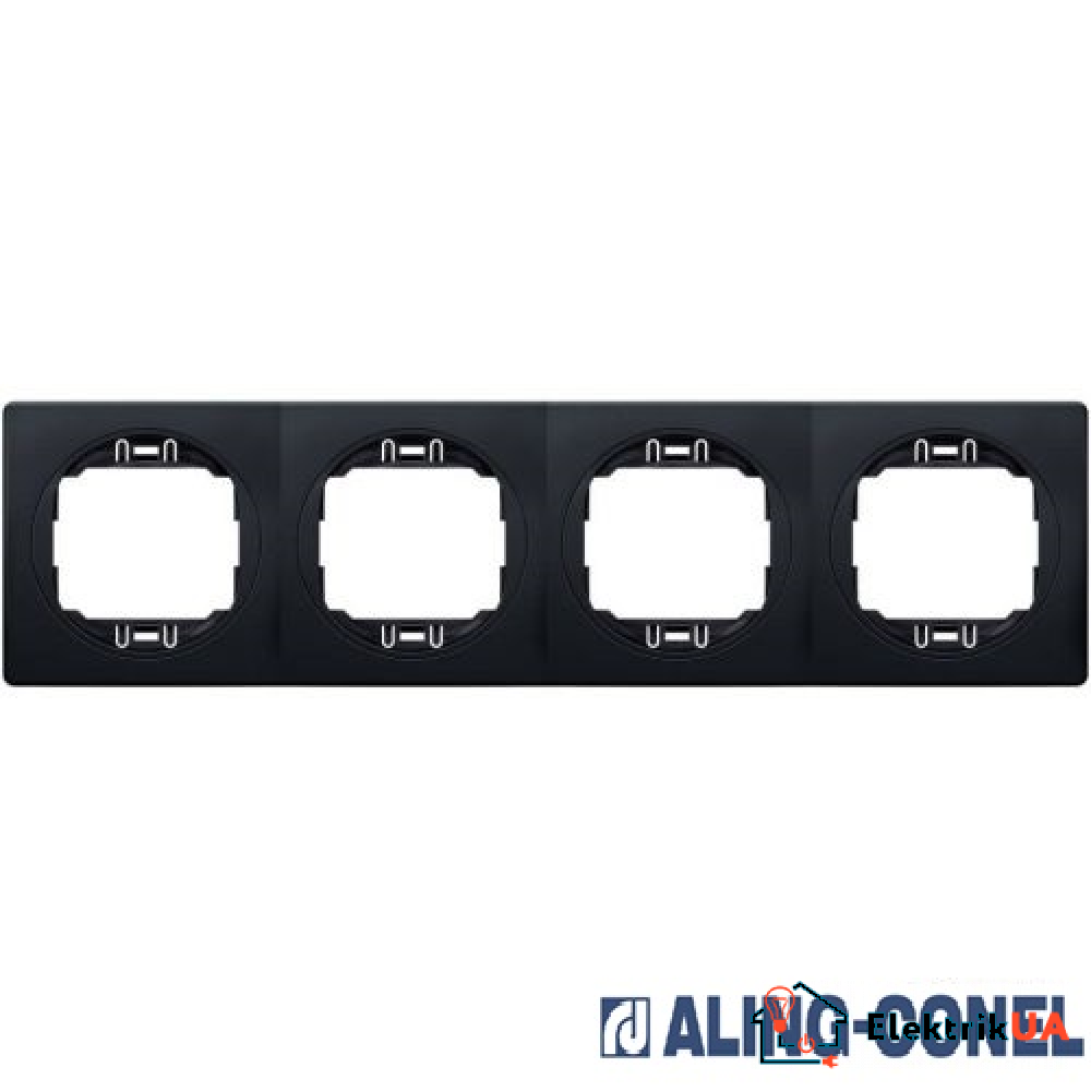 Рамка 4-а горизонт., Aling-Conel EON (чорний-чорний)