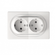 Комплект: мех.розетка 2-на з заземл., бiла + рамка 1-на горизонт для 2-ної розетки біло-біла, Aling-Conel EON E604.00