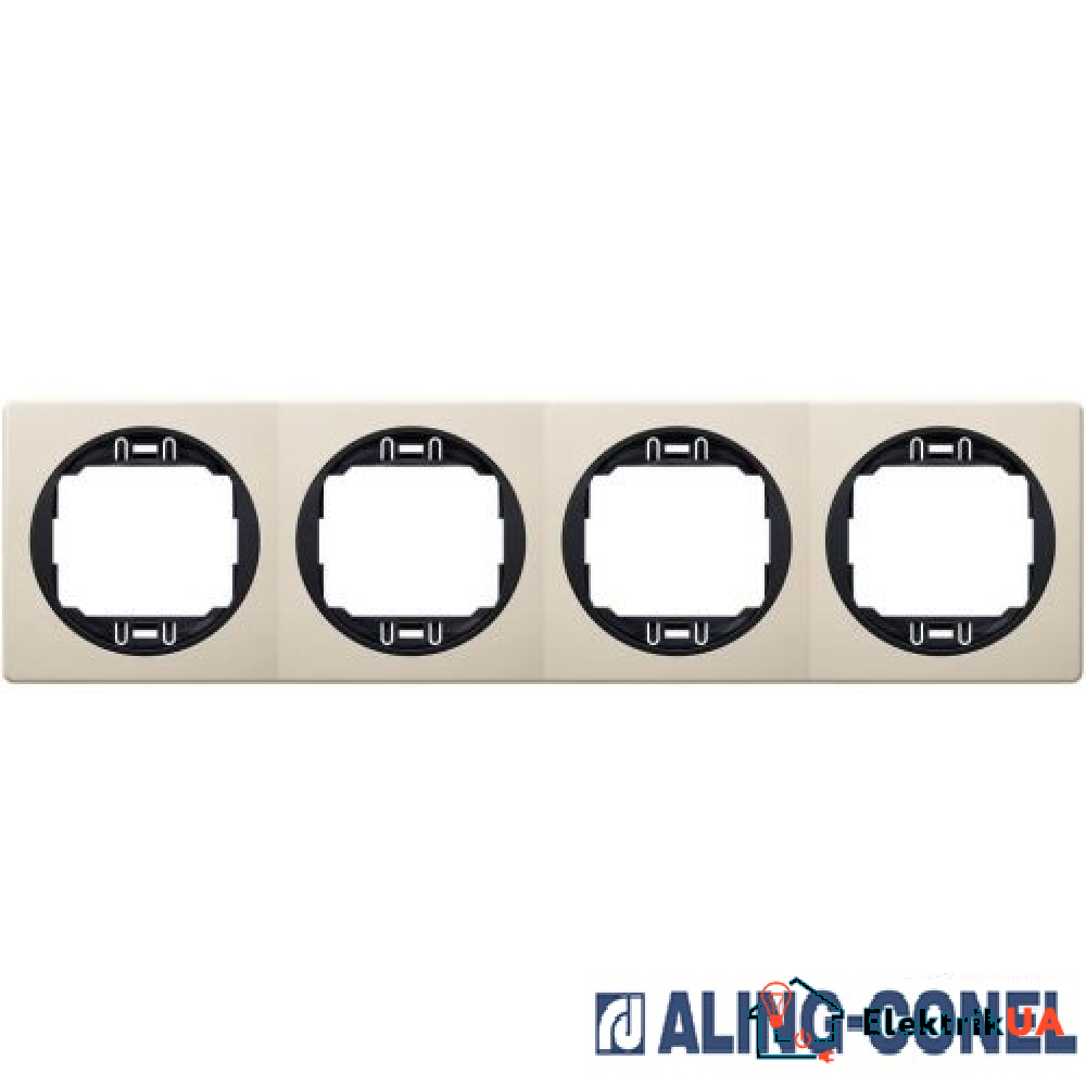 Рамка 4-а горизонт., Aling-Conel EON (бежевий-чорний)