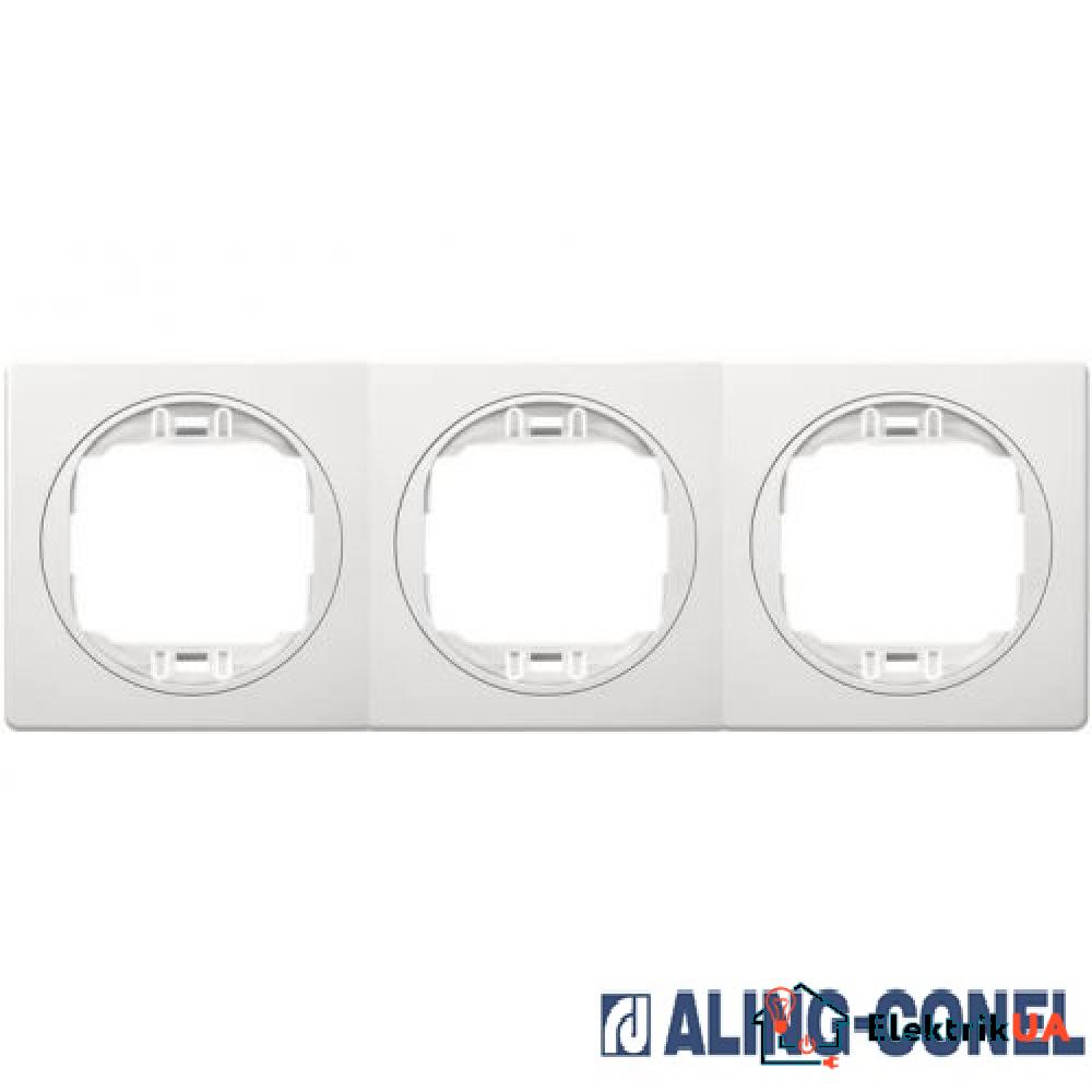Рамка 3-а горизонт., Aling-Conel EON (білий-білий)