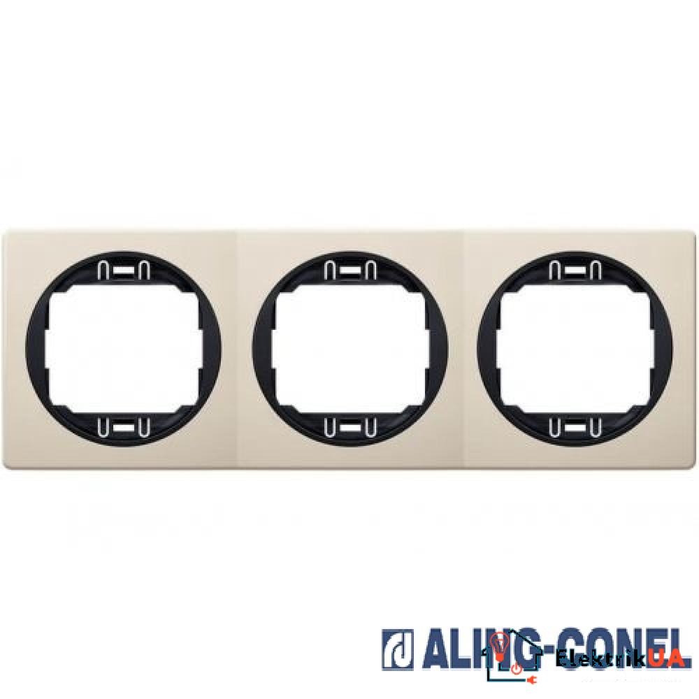 Рамка 3-а горизонт., Aling-Conel EON (бежевий-чорний)