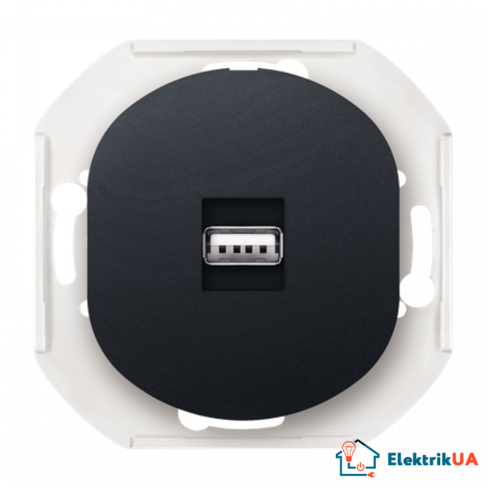 Механізм: Розетка 1-а USB, Aling-Conel EON (чорний)