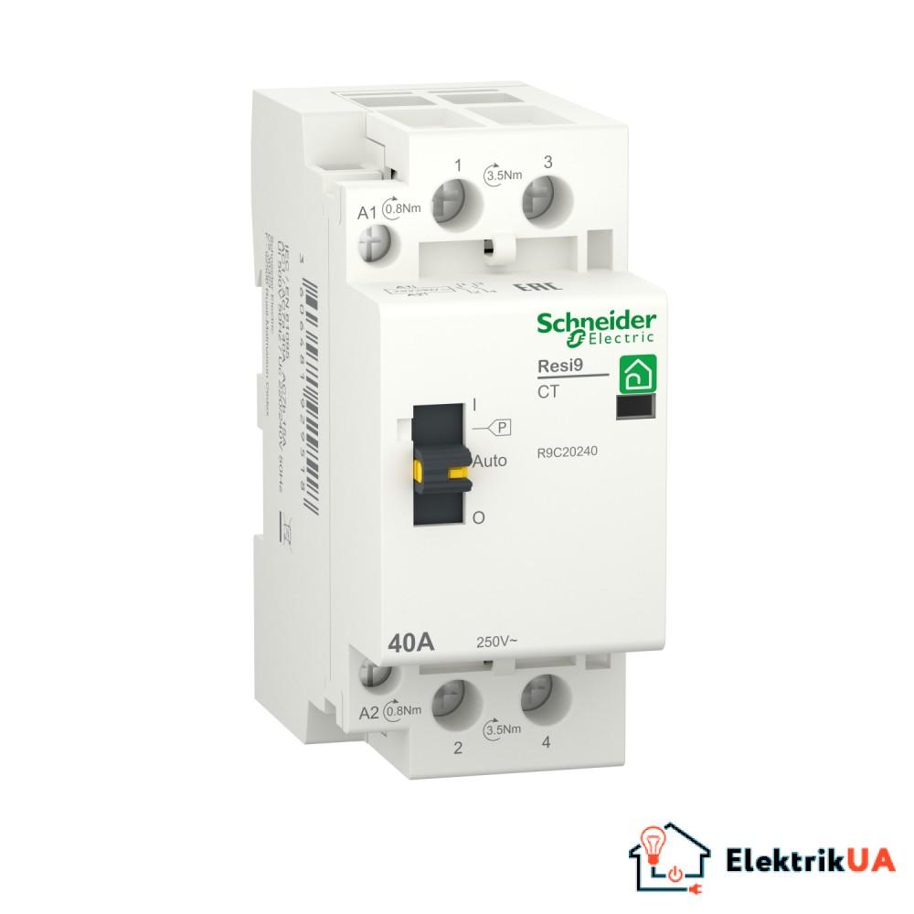 Контактор RESI9 Schneider Electric 40 A, 1P+N, 2NO ~230В/50Гц