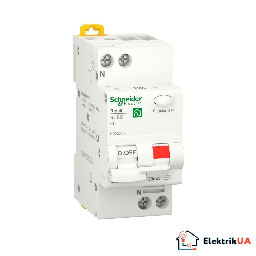 Диференційний автоматичний вимикач RESI9 Schneider Electric 6 А, 30 мA, 1P+N, 6кA, крива С, тип АС