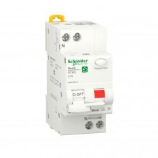Диференційний автоматичний вимикач RESI9 Schneider Electric 10 А, 30 мA, 1P+N, 6кA, крива С, тип А