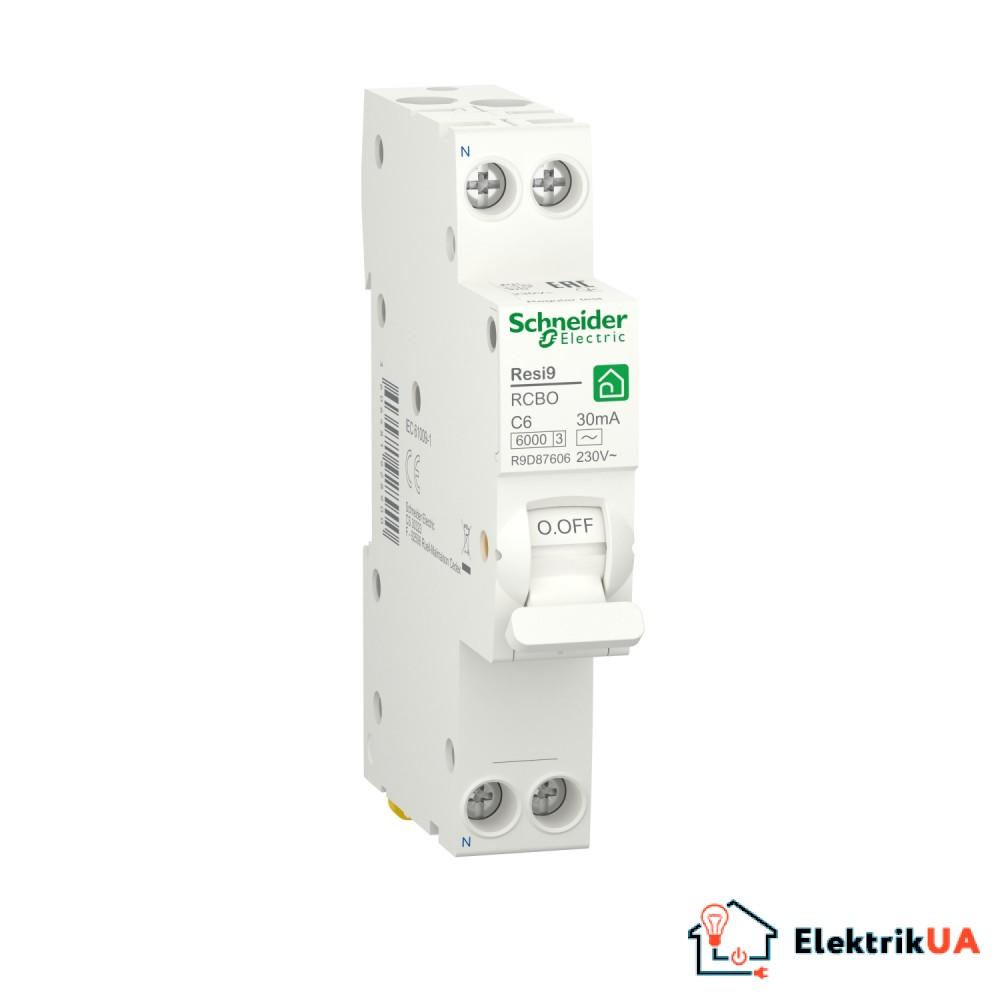 Компактний диференційний автоматичний вимикач RESI9 Schneider Electric 6 А, 30 мA, 1P+N, 6кA, крива С, тип АС