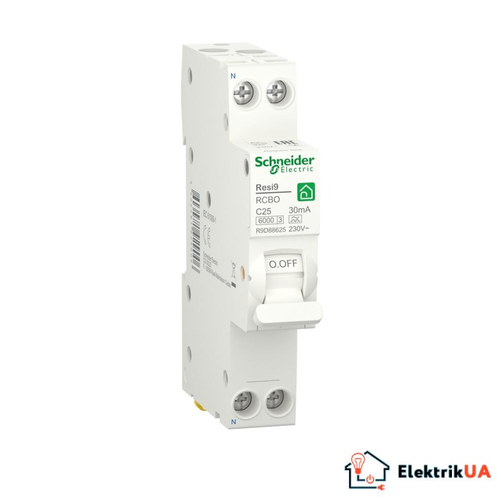 Компактний диференційний автоматичний вимикач RESI9 Schneider Electric 25 А, 30 мA, 1P+N, 6кA, крива С, тип А