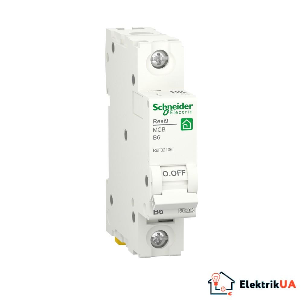 Автоматичний вимикач RESI9 Schneider Electric 6 A, 1P, крива В, 6кА