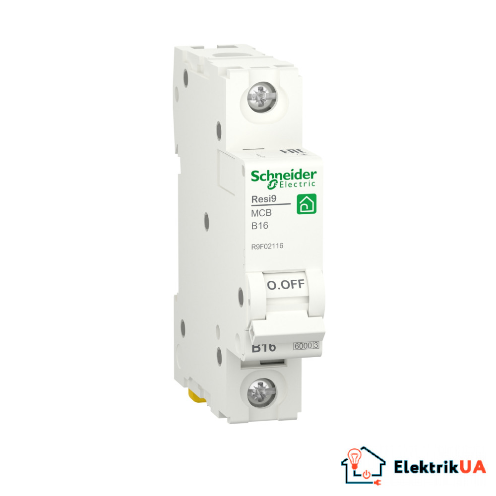 Автоматичний вимикач RESI9 Schneider Electric 16 A, 1P, крива В, 6кА