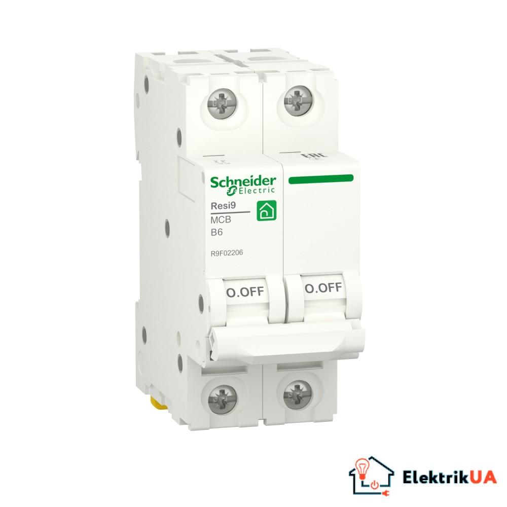 Автоматичний вимикач RESI9 Schneider Electric 6 А, 2P, крива В, 6кА