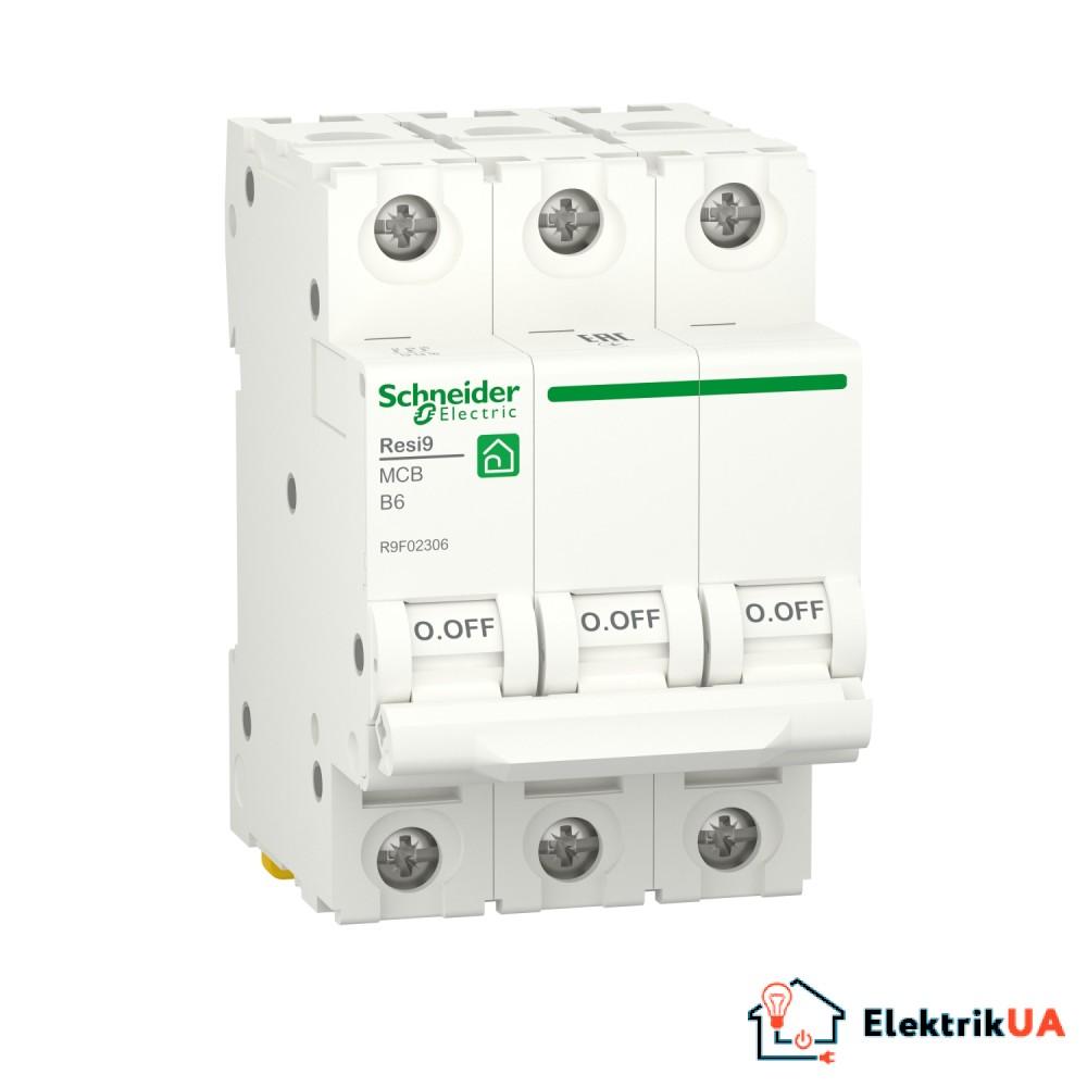 Автоматичний вимикач RESI9 Schneider Electric 6 А, 3P, крива В, 6кА
