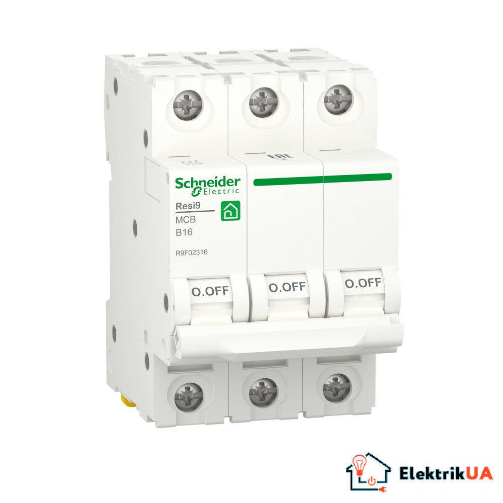 Автоматичний вимикач RESI9 Schneider Electric 16 А, 3P, крива В, 6кА