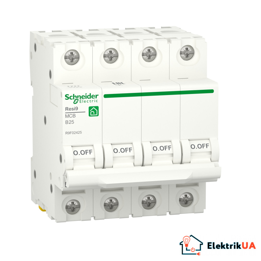 Автоматичний вимикач RESI9 Schneider Electric 25 А, 4P, крива В, 6кА