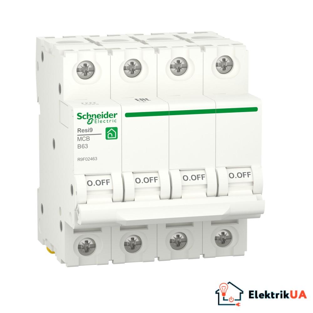 Автоматичний вимикач RESI9 Schneider Electric 63 А, 4P, крива В, 6кА