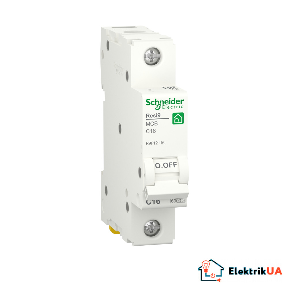 Автоматичний вимикач RESI9 Schneider Electric 16 А, 1P, крива С, 6кА