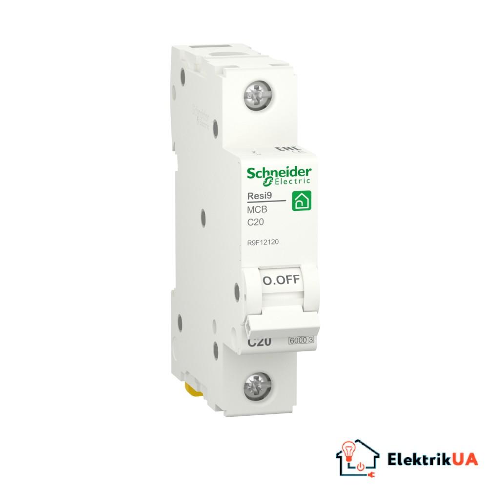 Автоматичний вимикач RESI9 Schneider Electric 20 А, 1P, крива С, 6кА