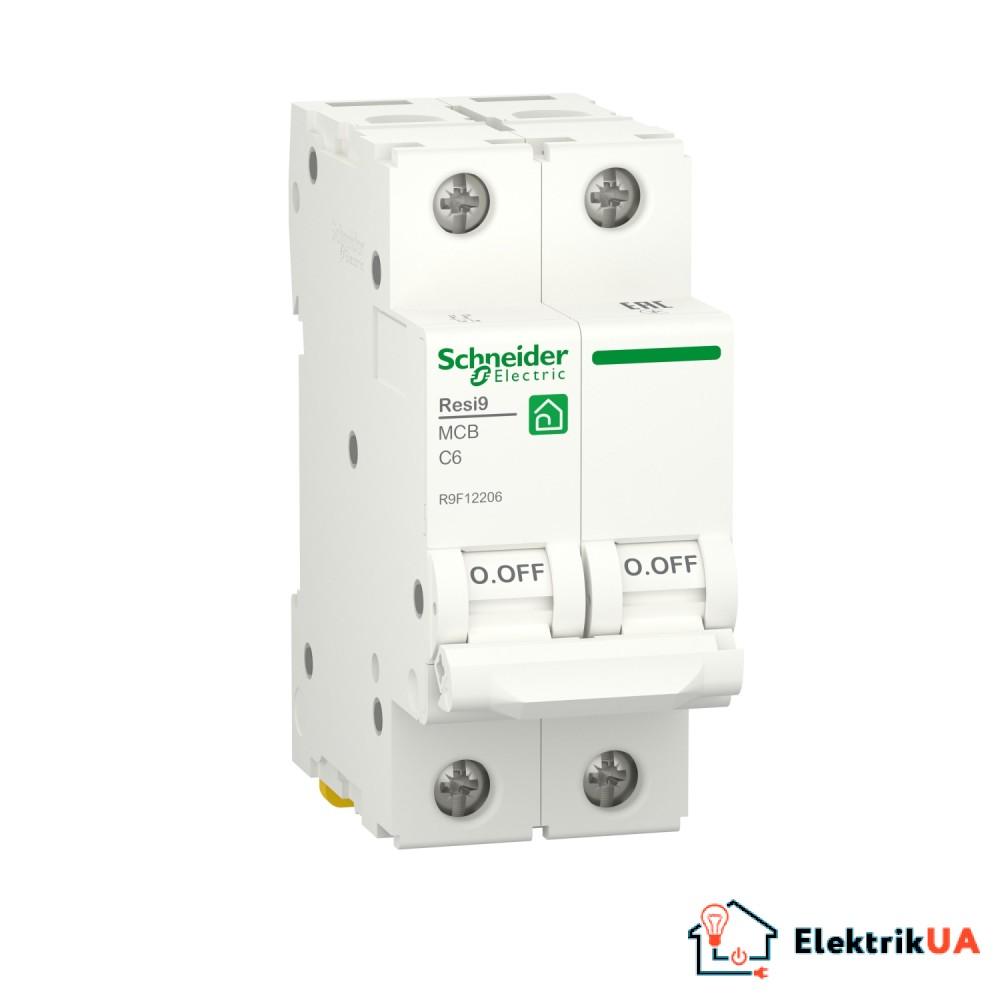 Автоматичний вимикач RESI9 Schneider Electric 6 А, 2P, крива С, 6кА