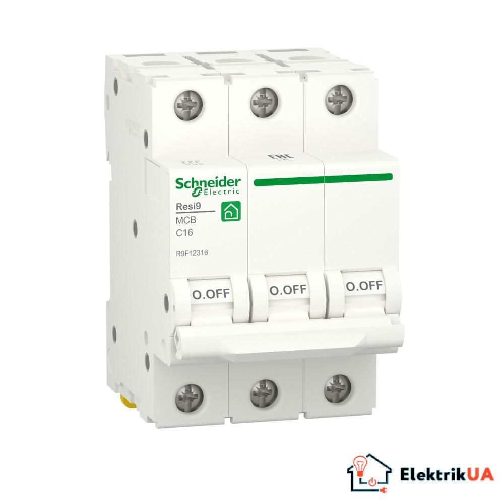 Автоматичний вимикач RESI9 Schneider Electric 16 А, 3P, крива С, 6кА