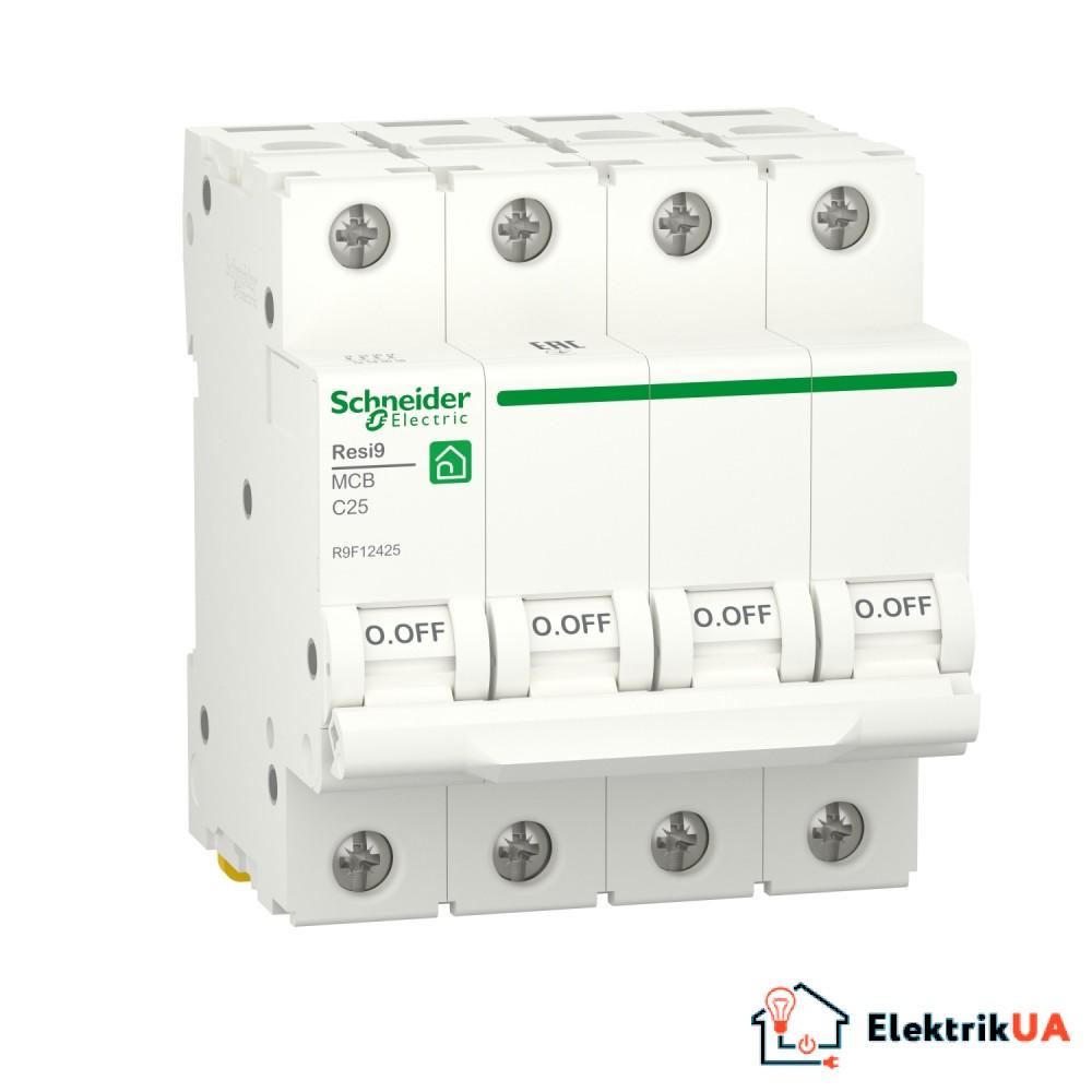Автоматичний вимикач RESI9 Schneider Electric 25 А, 4P, крива С, 6кА