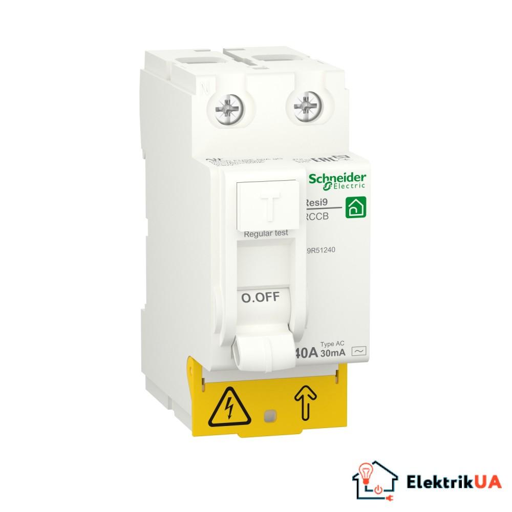 Диференційний вимикач навантаження RESI9 Schneider Electric 40 A, 30 мA, 2P, тип АС