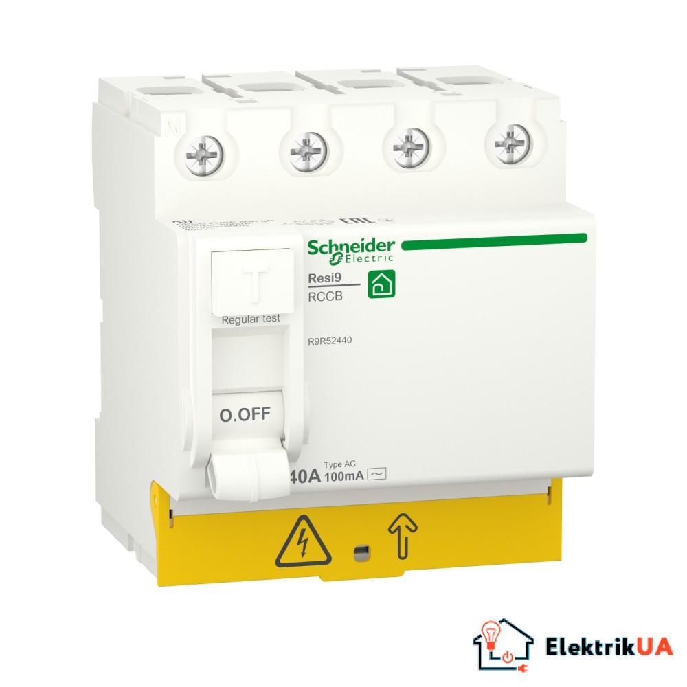 Диференційний вимикач навантаження RESI9 Schneider Electric 40 A, 100 мA, 4P, тип АС