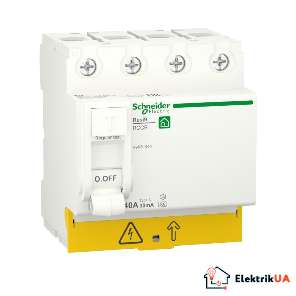 Диференційний вимикач навантаження RESI9 Schneider Electric 40 A, 30 мA, 4P, тип А