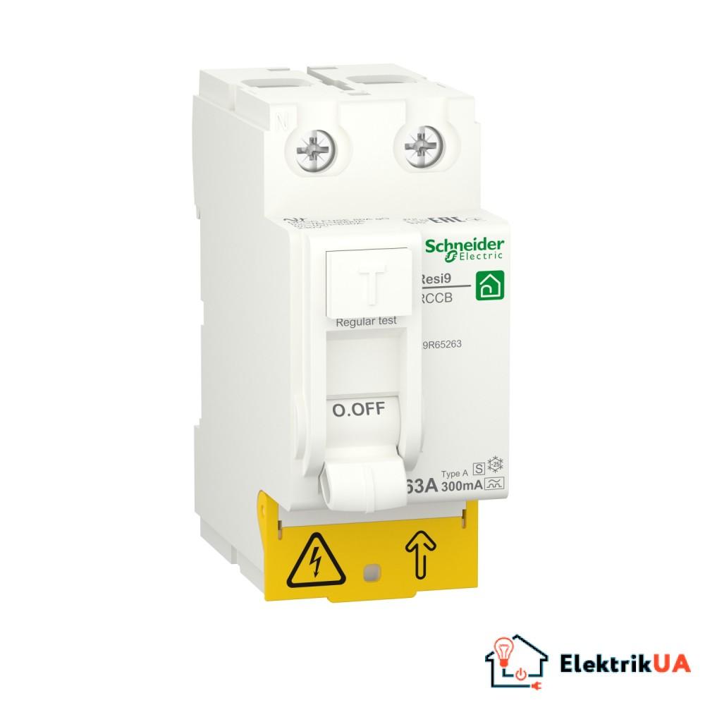 Диференційний вимикач навантаження RESI9 Schneider Electric 63 A, 300 мA, 2P, тип А