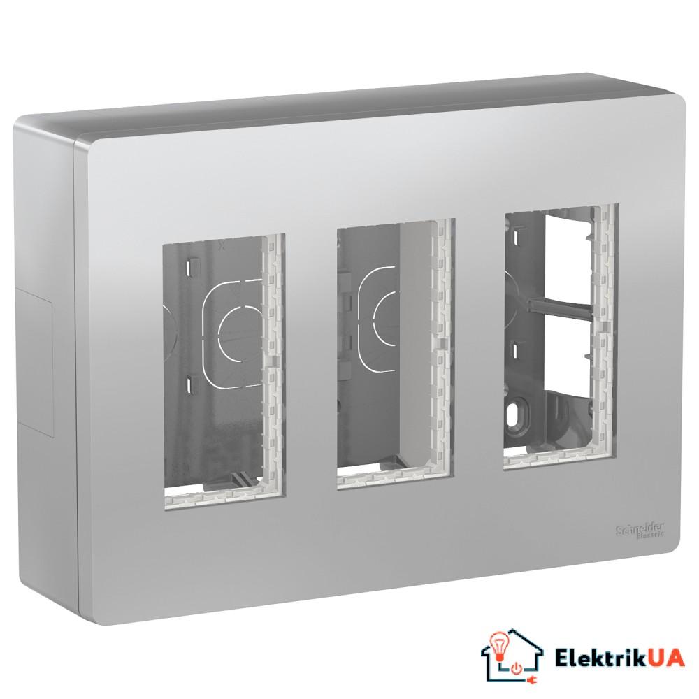 Блок unica system+ відкрита вставка. 3х2 алюміній