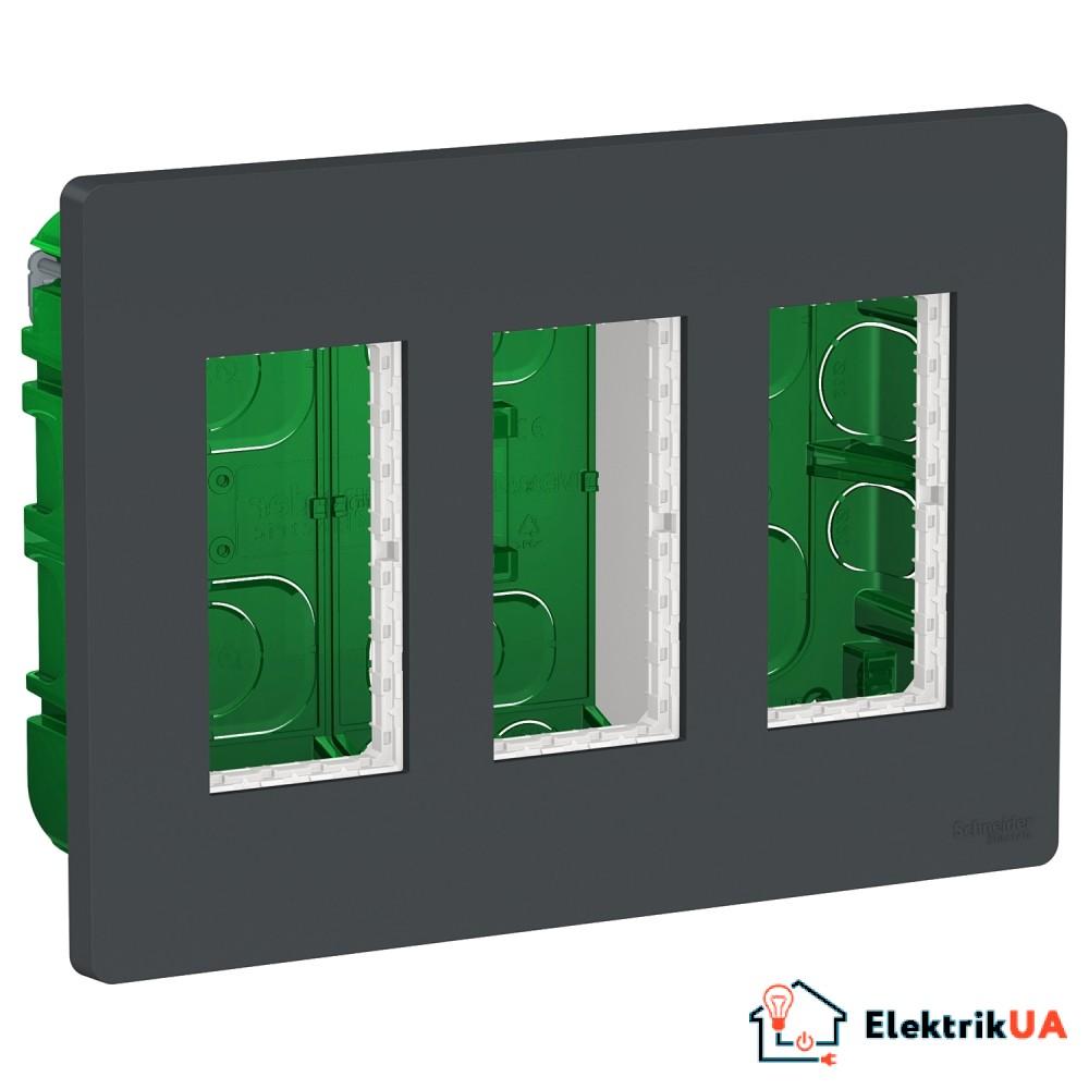 Блок unica system+ прихована вставка 3х2 антрацит