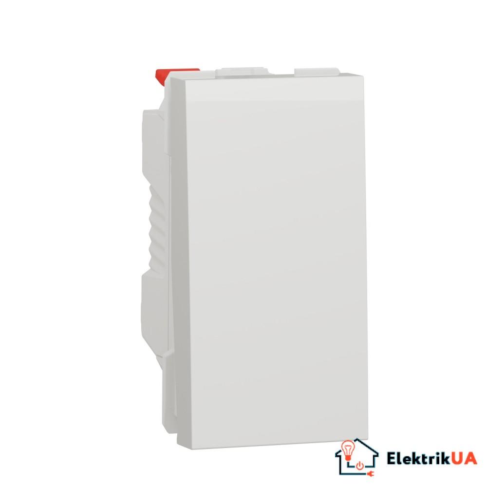 Перемикач 1-клавішний схема 6, 10А, 1 модуль білий