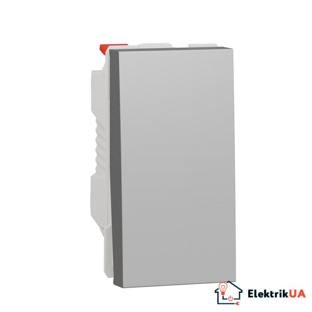 Перемикач 1-клавішний схема 6, 10А, 1 модуль алюміній