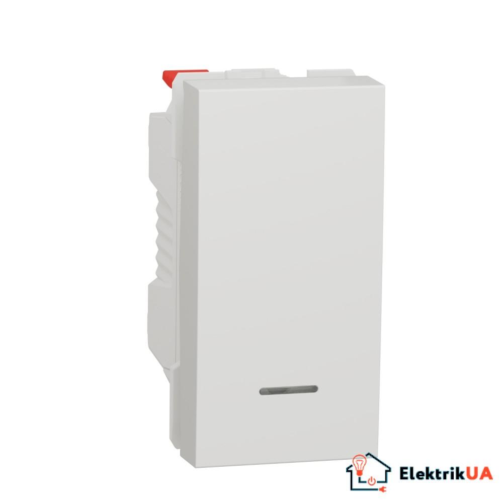 Вимикач 1-клавішний кнопковий з підсвіткою схема 1а 10А, 1 модуль білий