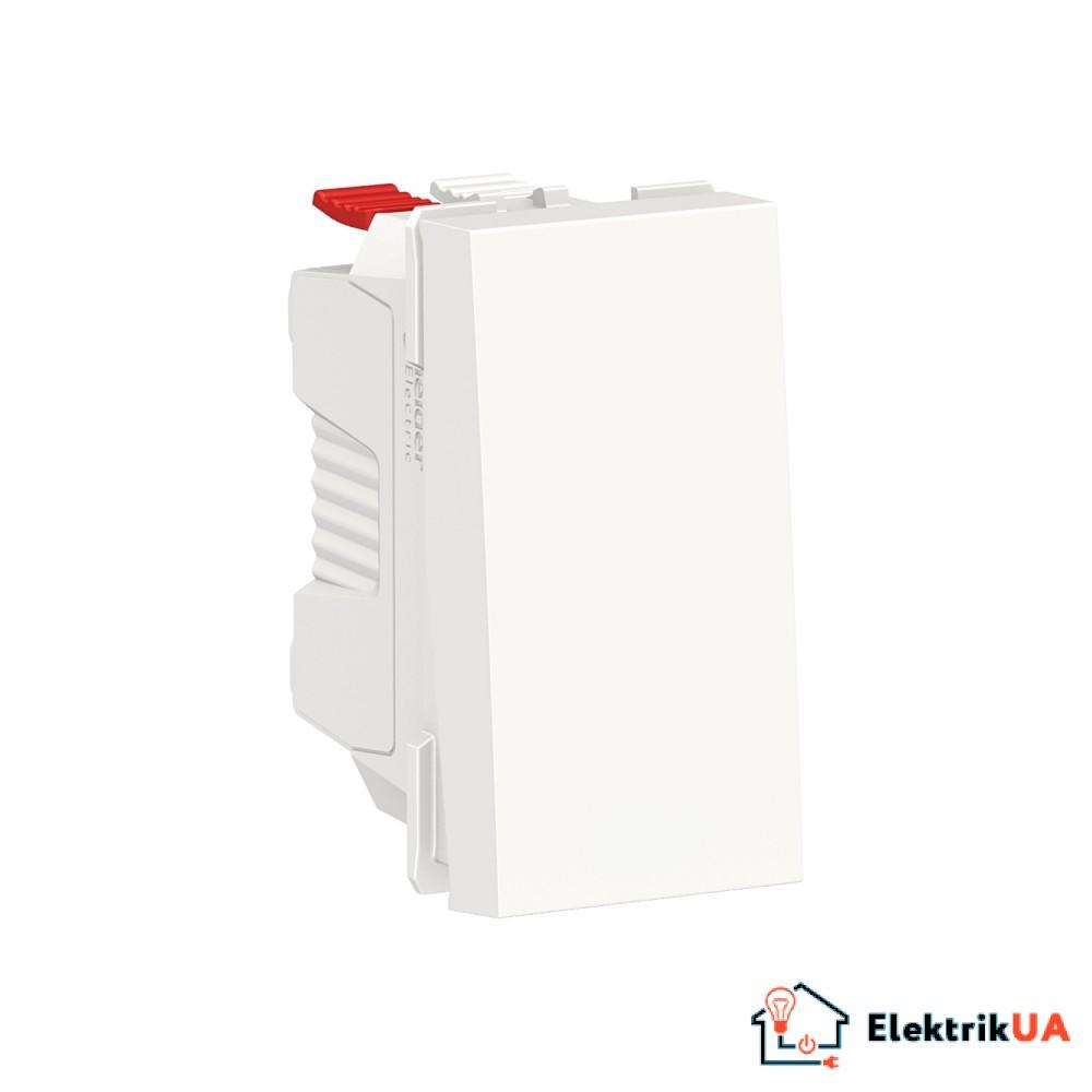 Вимикач 1-клавішний кнопковий схема 1, 10А, 1 модуль білий
