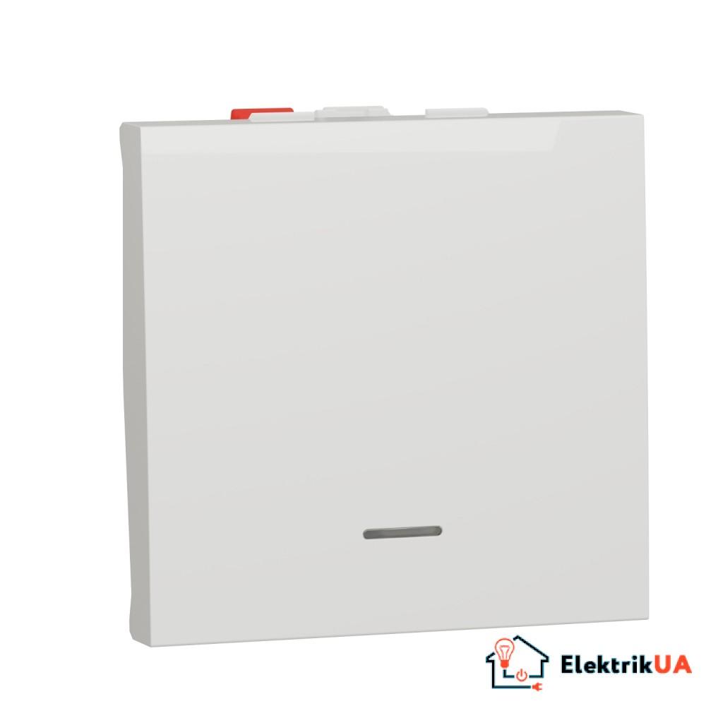 Перемикач 1-клавішний з нейтраллю 10А, 2 модулі білий