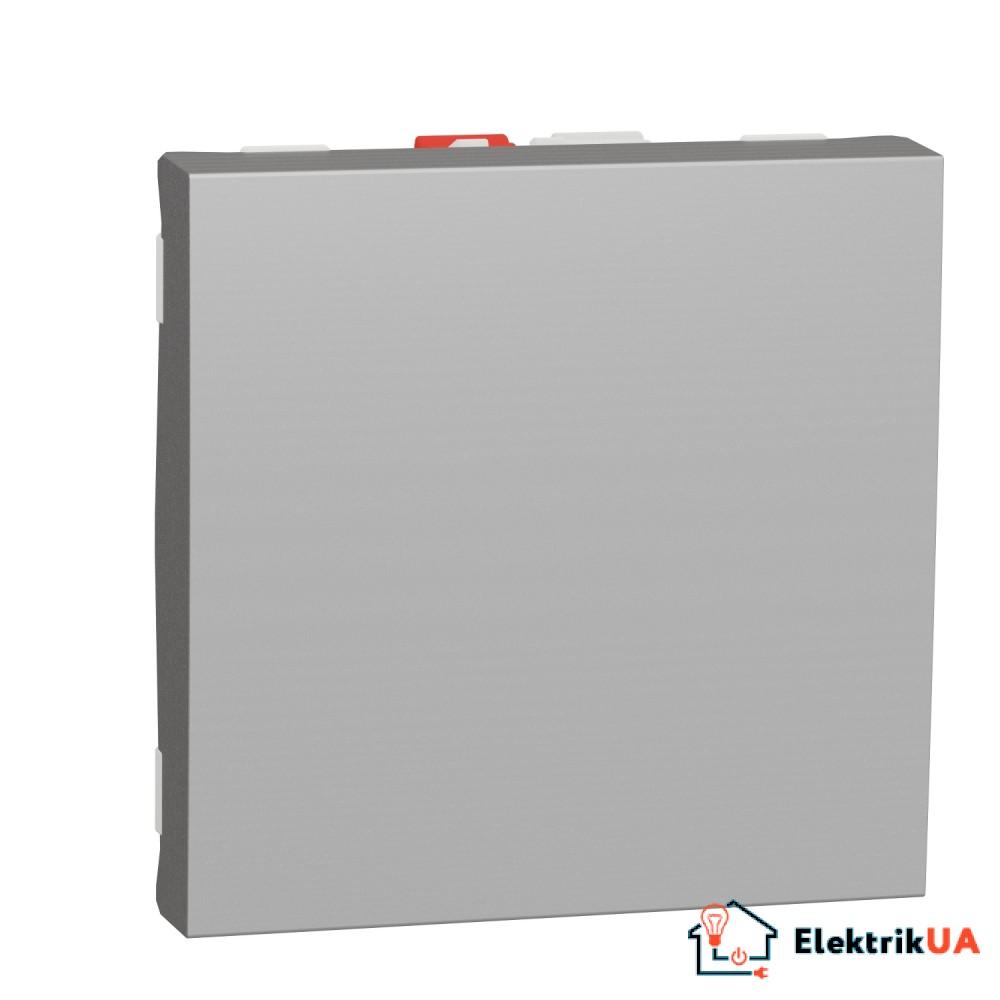 Перемикач 1-клавішний схема 6, 10А, 2 модулі алюміній