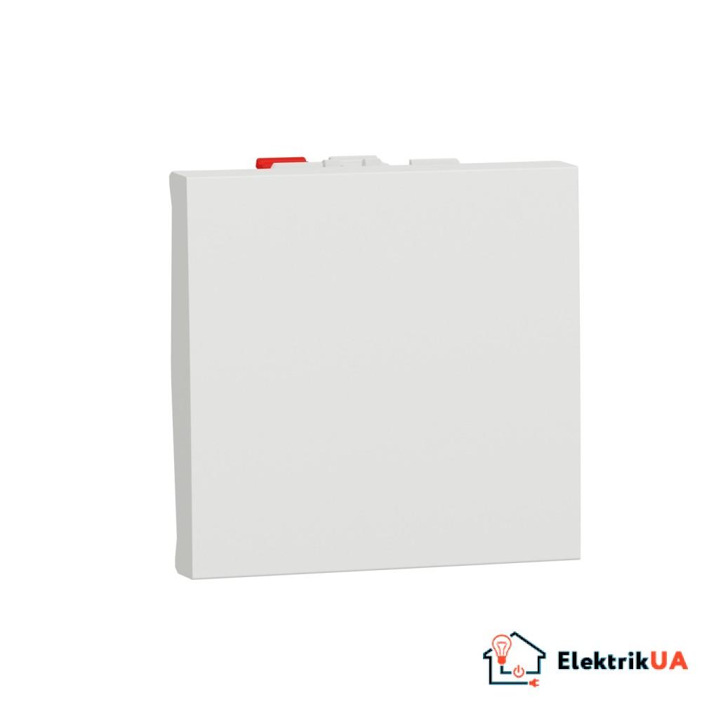 Вимикач 1-клавішний кнопковий схема 1 10А, 2 модулі білий