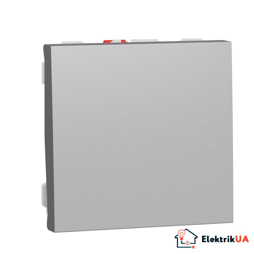 Вимикач 1-клавішний кнопковий схема 1, 10А, 2 модулі алюміній