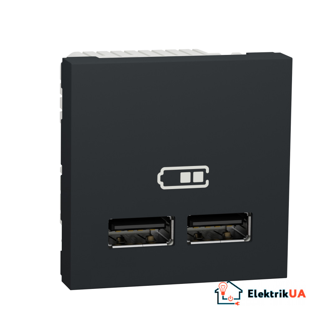 Розетка USB подвійна 2.1А 2 модулі антрацит