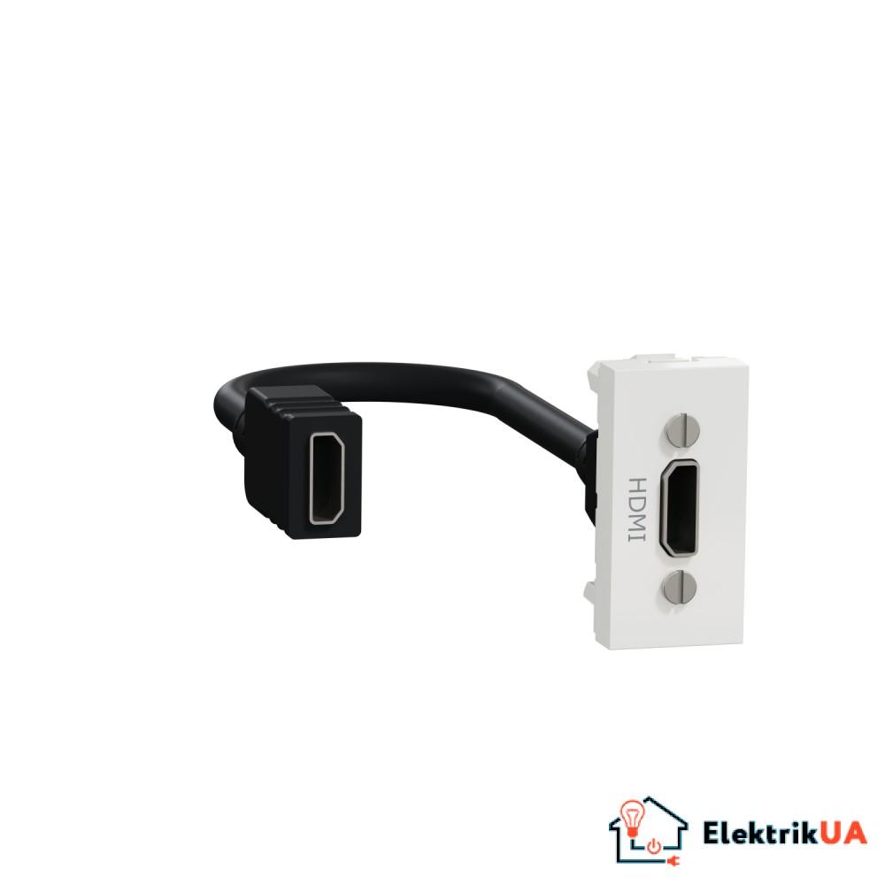 Розетка HDMI, 1 модуль білий