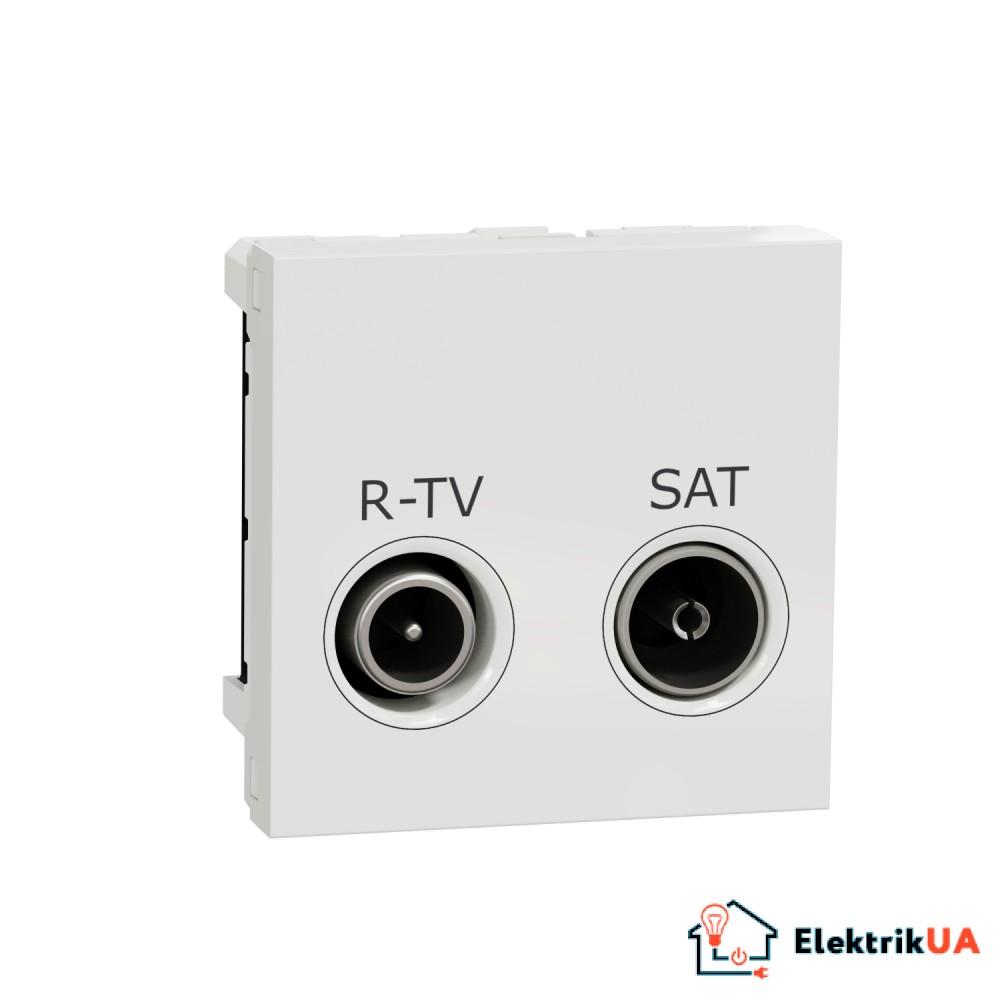 Розетка R-TV SAT одинарна, 2 модулі білий