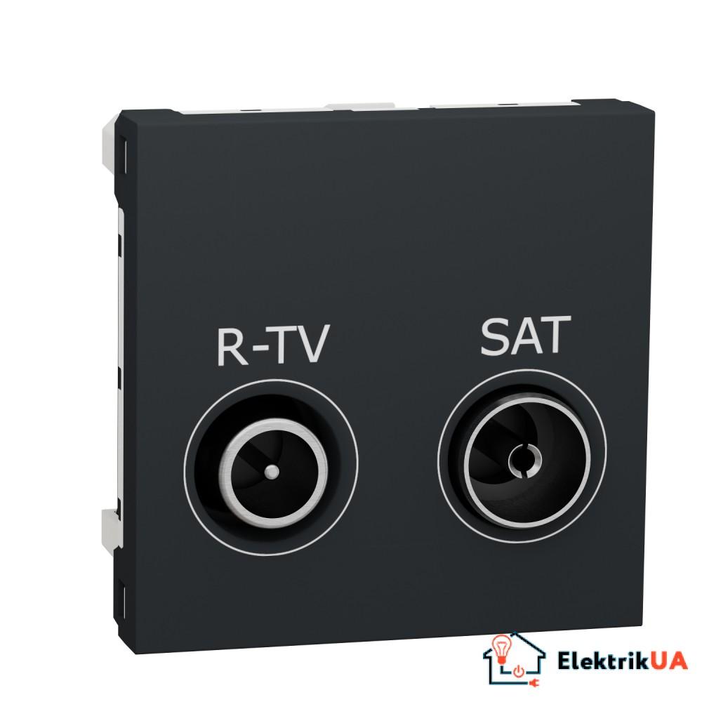 Розетка R-TV SAT кінцева, 2 модулі антрацит