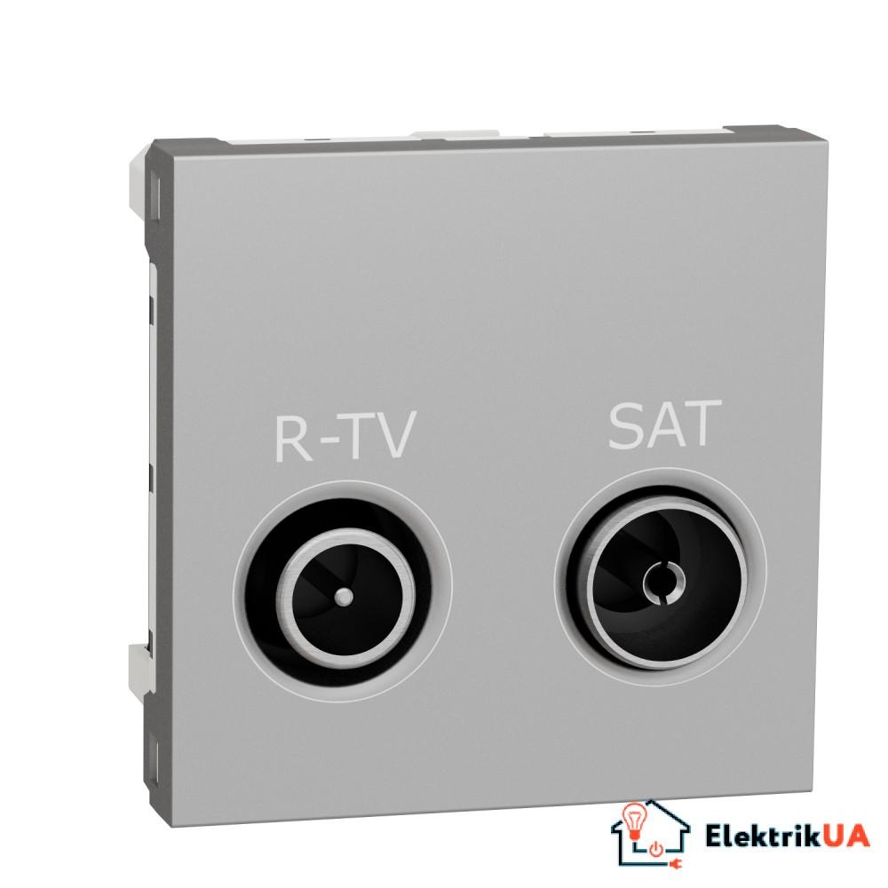 Розетка R-TV SAT прохідна,  2 модулі алюміній