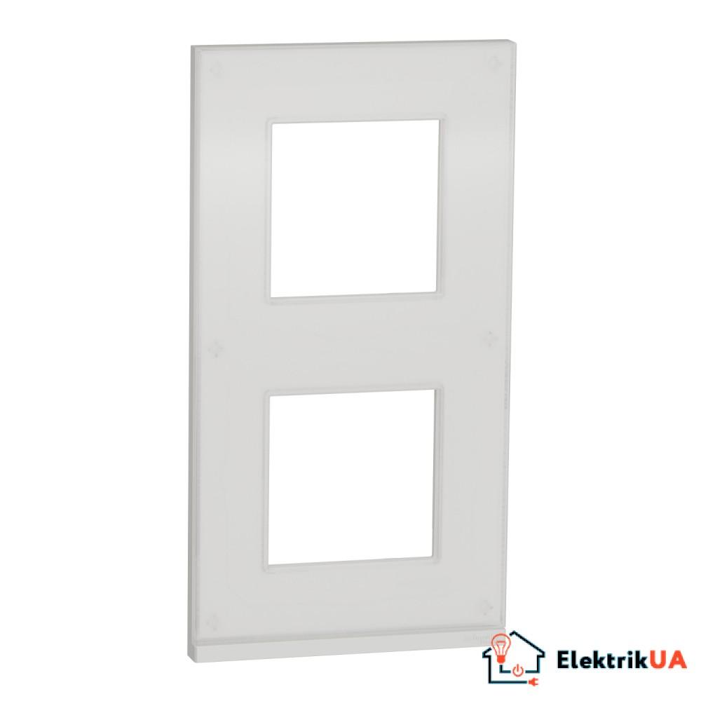 2 постова рамка вертикальна Unica Pure біле скло