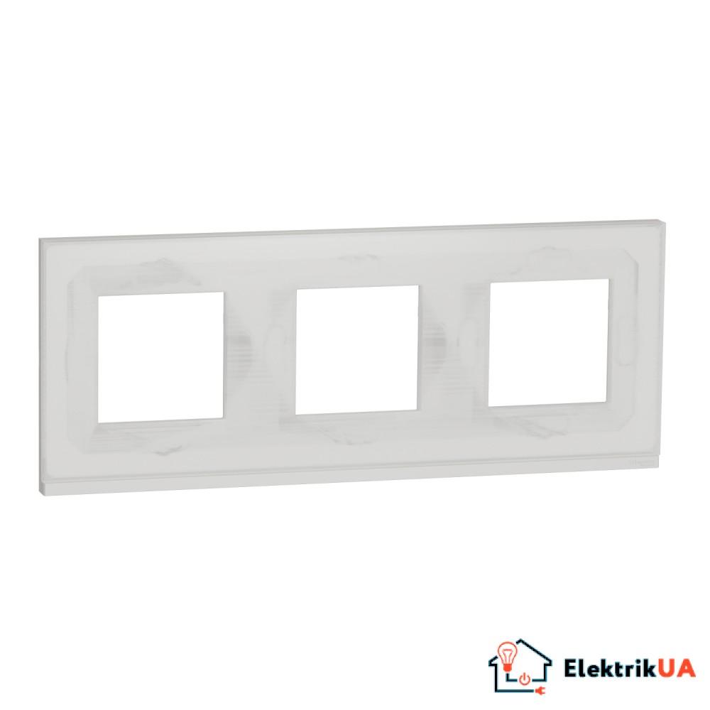 Рамка 3-постова, горизонтальна, Біле скло/білий