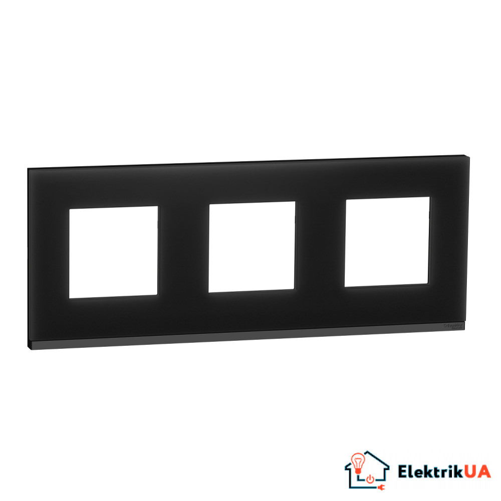 Рамка 3-постова, горизонтальна, Чорне скло/антрацит