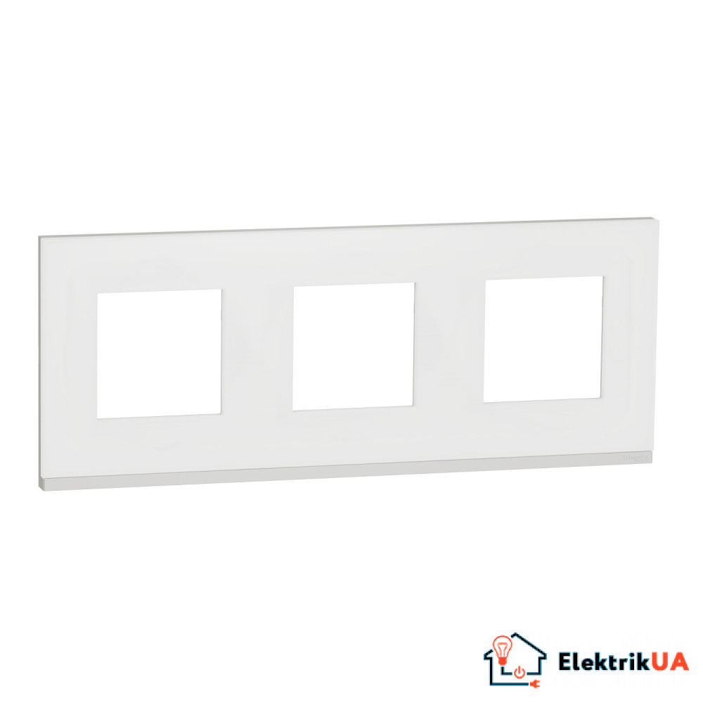 Рамка 3-постова, горизонтальна, Матове скло/білий