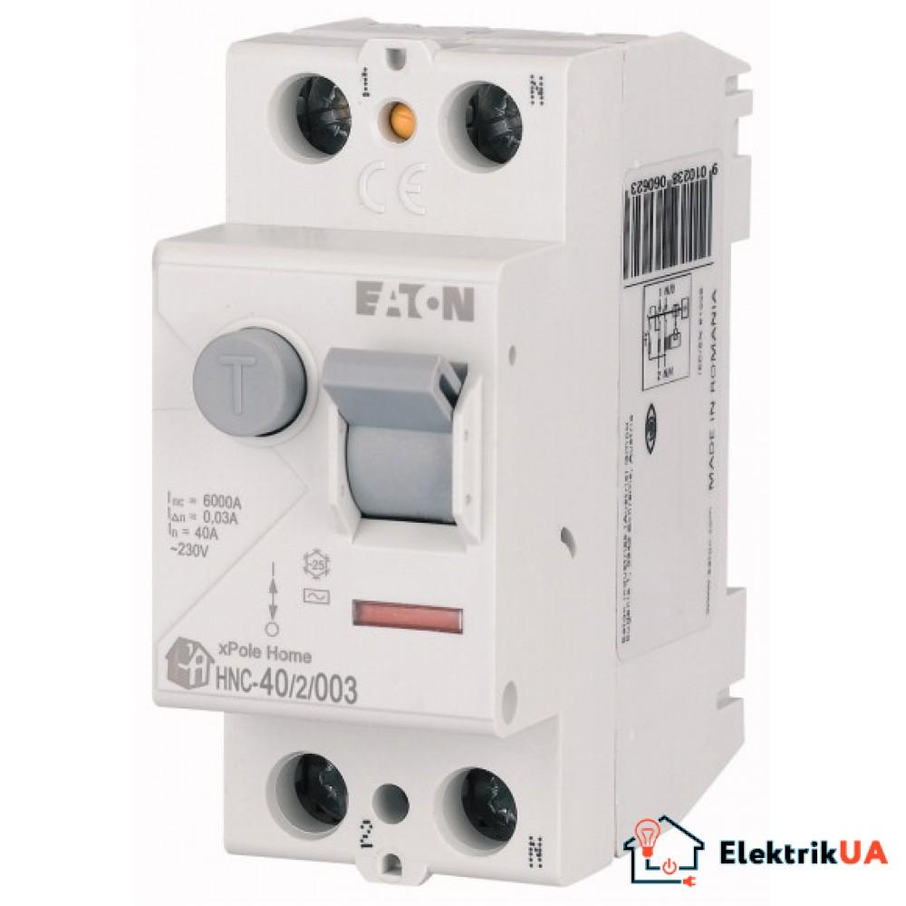 Вимикач залишкового струму (ПЗВ), 40A, 2пол., 30мA, тип AC - HNC-40/2/003