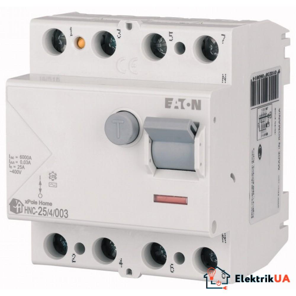 Вимикач залишкового струму (ПЗВ), 25A, 4пол., 30мA, тип AC - HNC-25/4/003