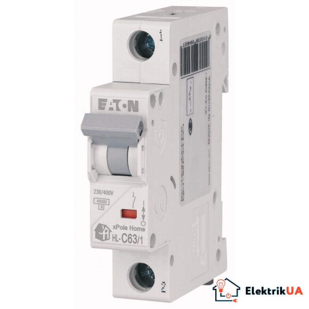Модульний автоматичний вимикач 1-полюсний C-характеристика 63-A - HL-C63/1