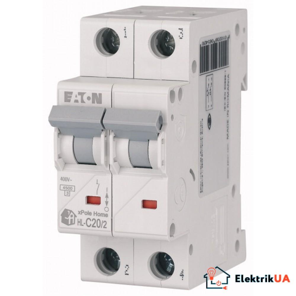 Модульний автоматичний вимикач 2-полюсний C-характеристика 20-A - HL-C20/2